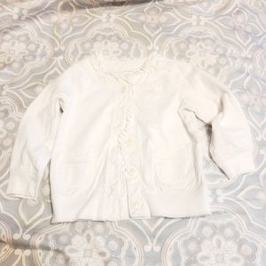Pure white cardigan with flower